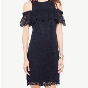 Navy lace cold shoulder dress